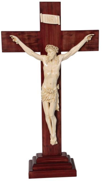 220: Carved Ivory & Walnut Crucifix