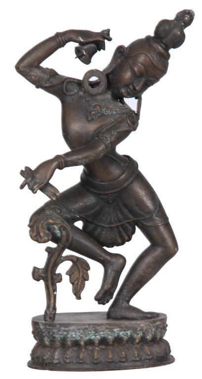 221: Indian Bronze Dancing Goddess Figure