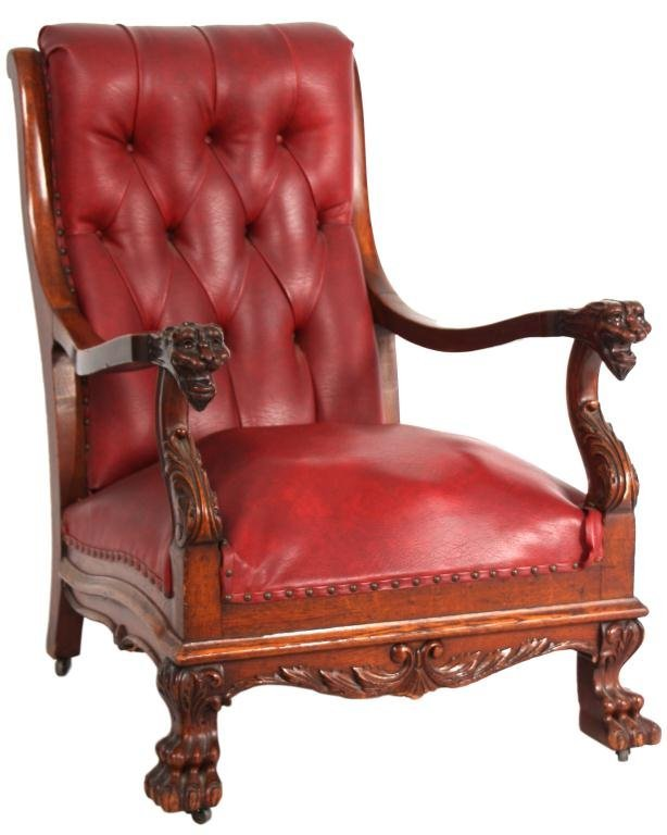 222: Oak Carved Griffin Armchair