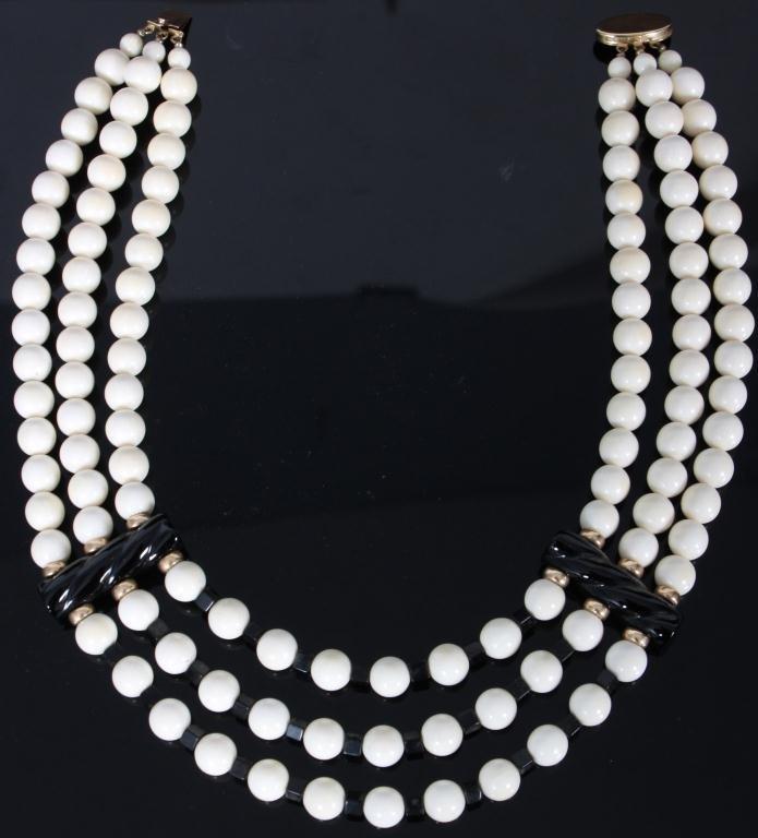 229: Ivory & Onyx Beaded Necklace