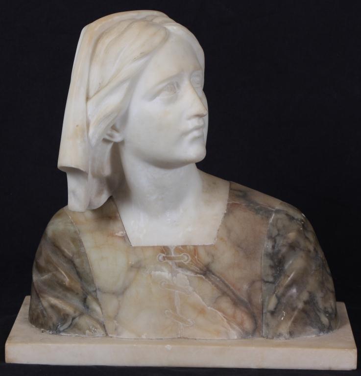 235: Italian Marble Joan of Arc Bust