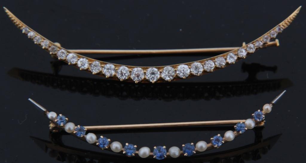 236: 2 Gold Crescent Bar Pins