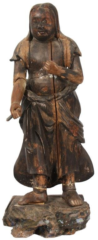 238: Wood Carved Antique Standing Figure