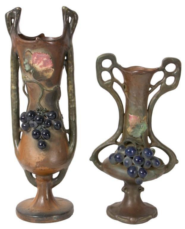 325: 2 Amphora Vases W/ Grapes