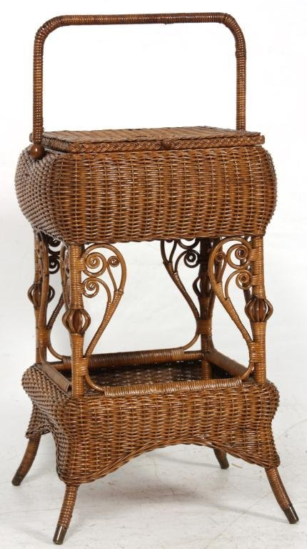 327: Heywood Bros. Wicker Sewing Stand - 2