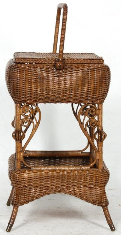 327: Heywood Bros. Wicker Sewing Stand - 3
