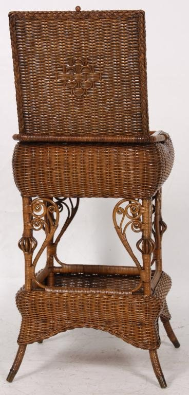327: Heywood Bros. Wicker Sewing Stand - 4