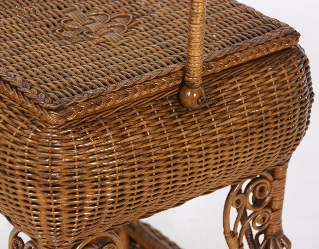 327: Heywood Bros. Wicker Sewing Stand - 8