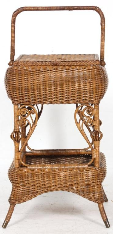 327: Heywood Bros. Wicker Sewing Stand - 9