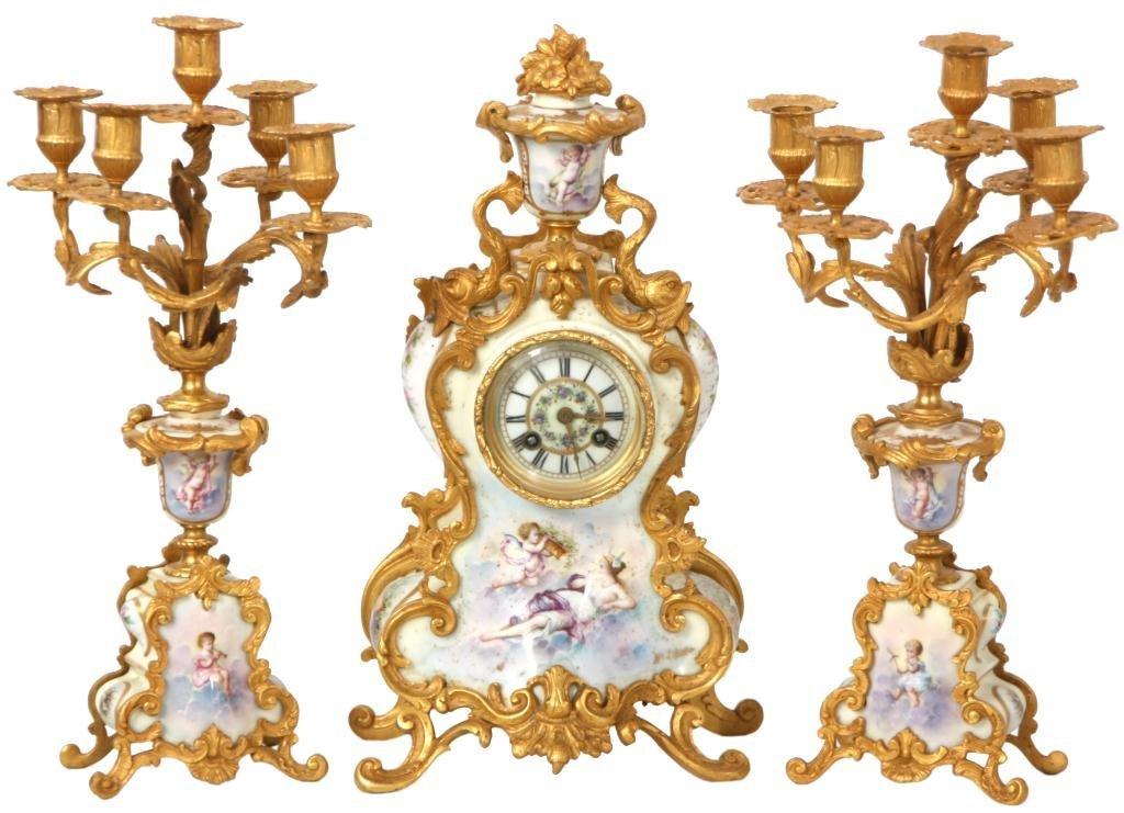 7: 3 Pc. Sevres Porcelain Clock Set