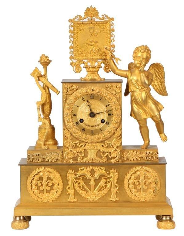 13: French Figural Silk Thread Clock