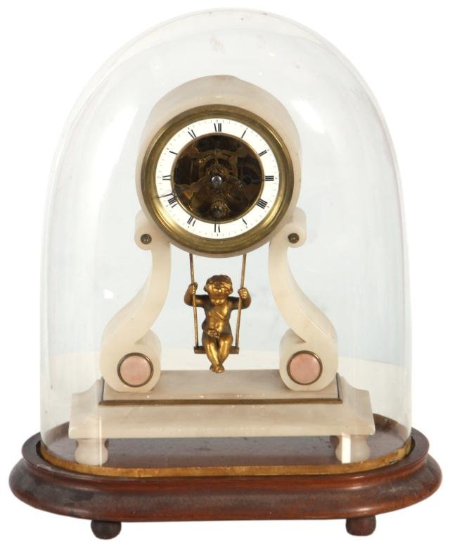 15: French Figural Onyx Mantle Clock