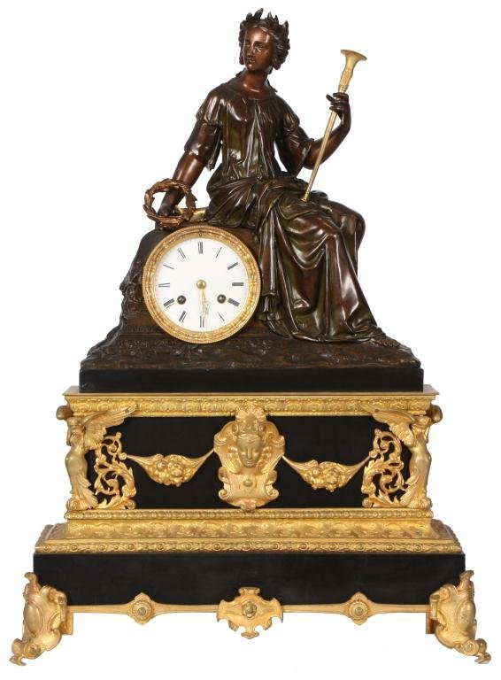 23: French Marble & Bronze Mantle Clock
