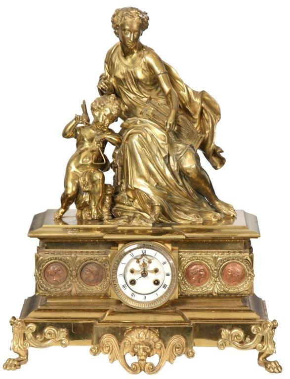 29: French Figural Bronze Mantle Clock
