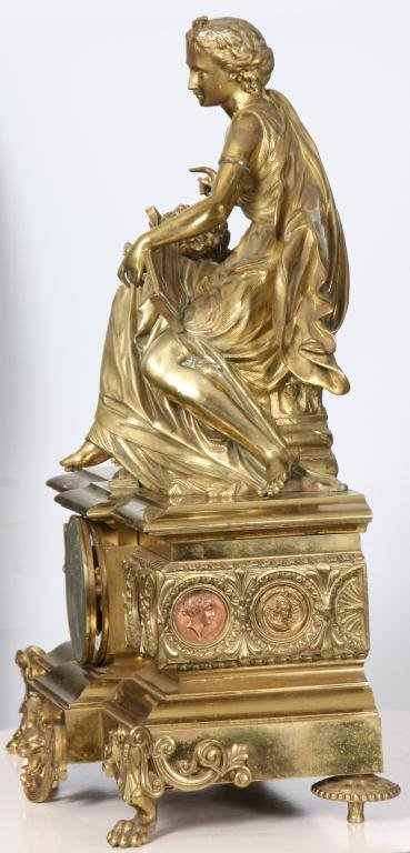 29: French Figural Bronze Mantle Clock - 2