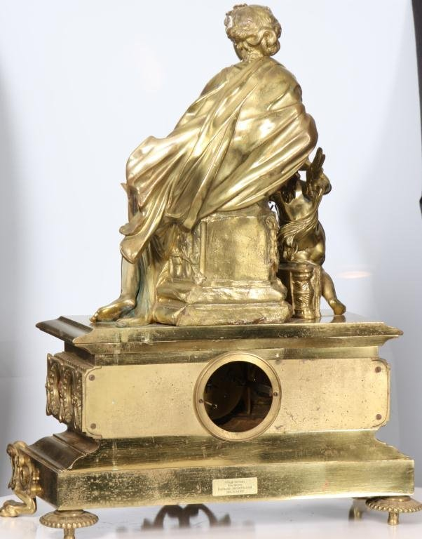 29: French Figural Bronze Mantle Clock - 3