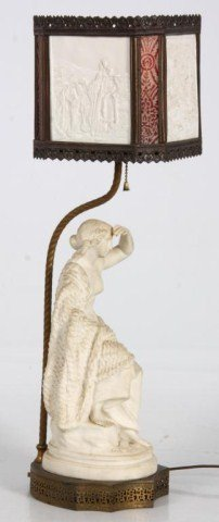 Figural Bisque & Lithophane Panel Lamp