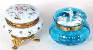 2 Pc. Victorian Glass Powder Jars