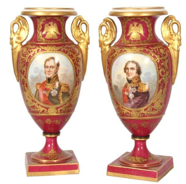 11: Pr. French Porcelain Portrait Vases