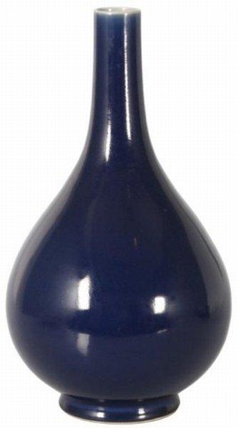 17: 19th C. Cobalt Bulbous Chinese Vase
