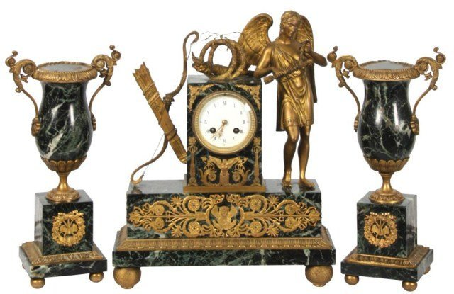12: 3 Pc. French Figural Mantle Clock Set