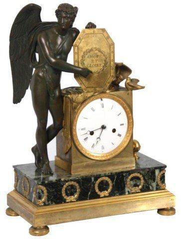 14: French Silk Thread Bronze Mantle Clock.