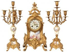 23: 3 Pc. French Figural Clock Set