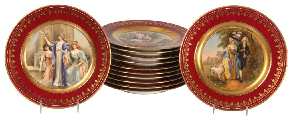 12 Royal Vienna Hand Painted Plates