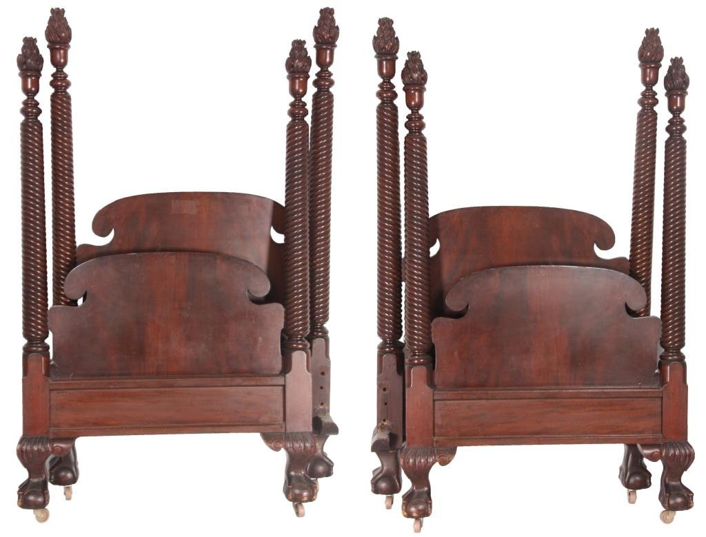 Pr. 4 Poster Chippendale Mahogany Beds