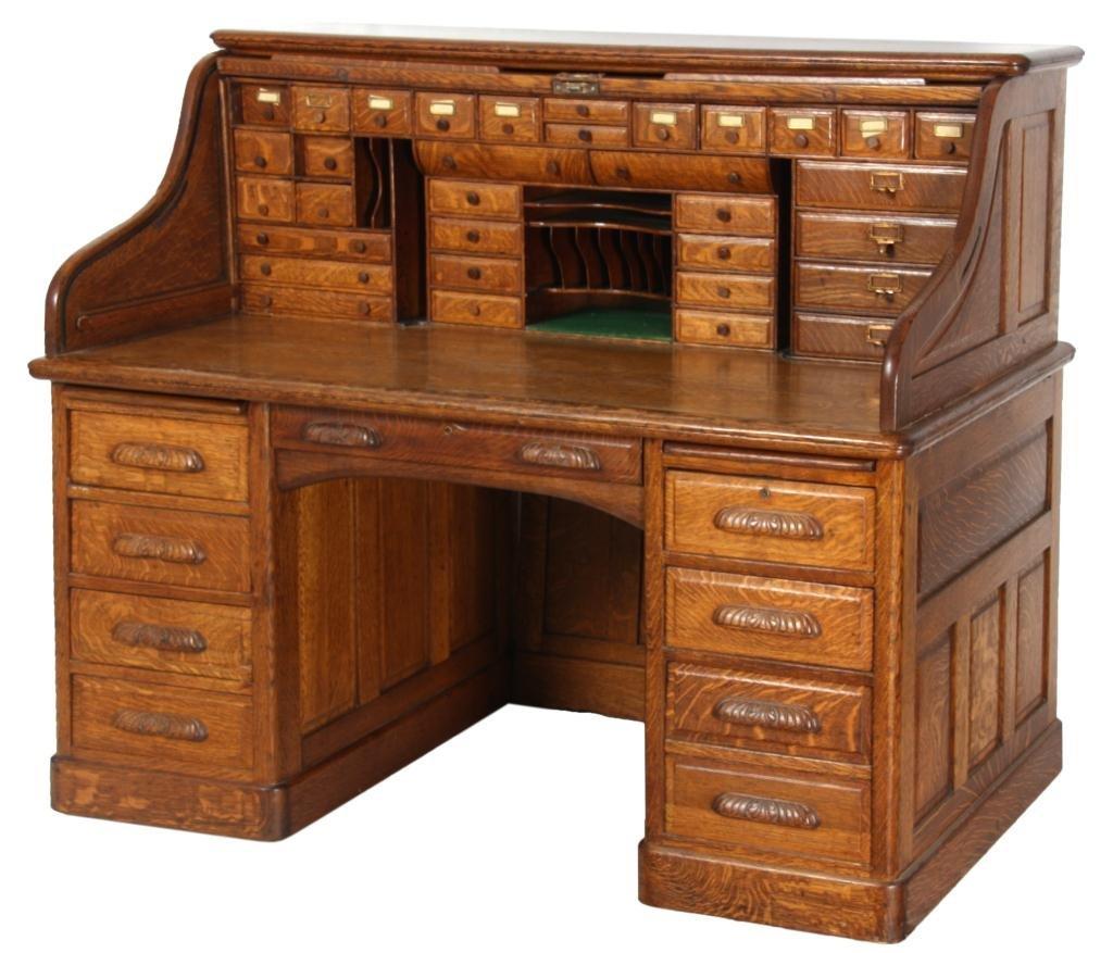 60 in. Oak S-Roll Top Desk
