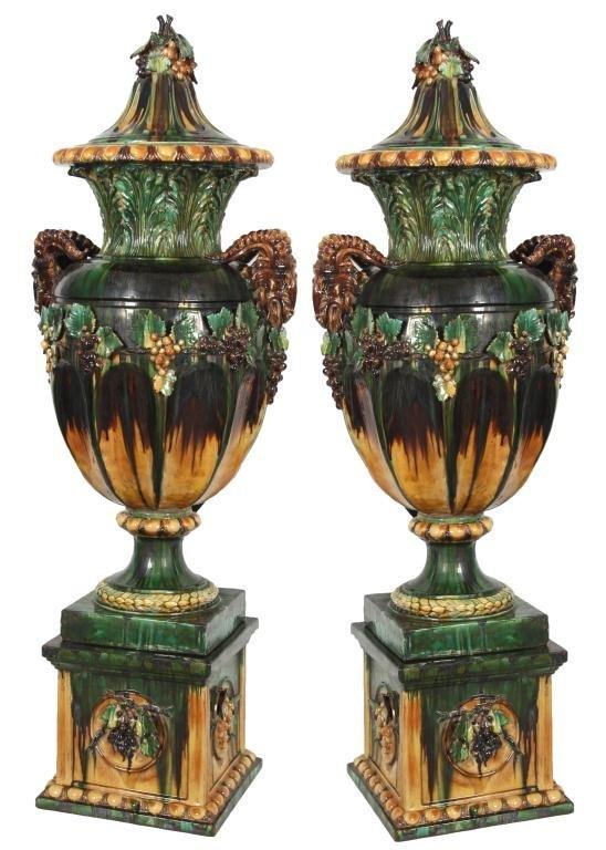 Pr. Monumental Majolica Urns