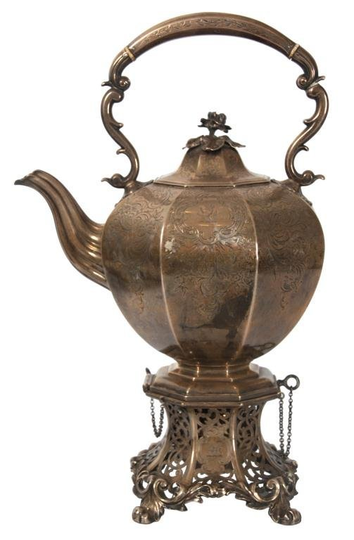 Early English Sterling Silver Tilting Teapot