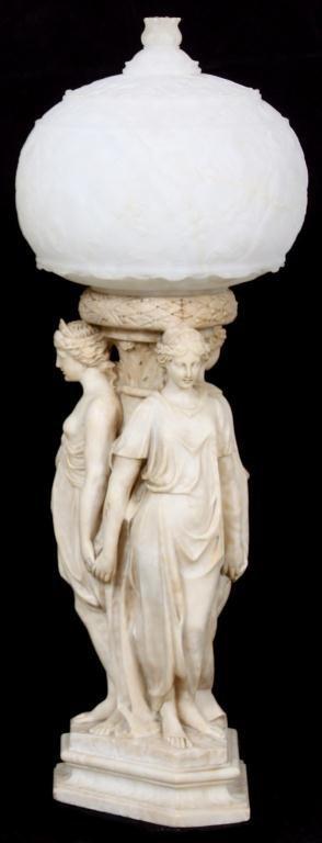 Figural Carved Italian Alabaster Lamp