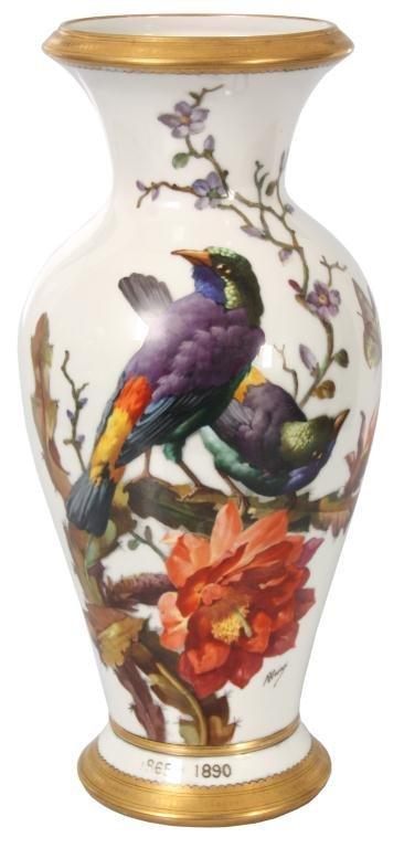 Lg. French Porcelain N. Vivien Bird Vase