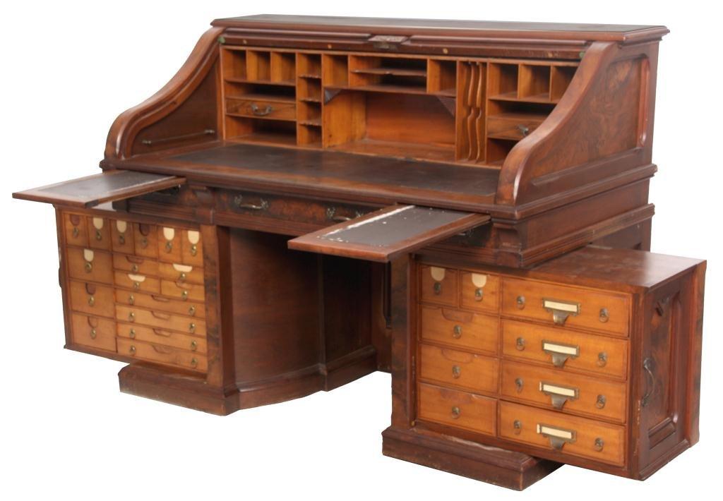 Shannon Walnut Roll Top Desk