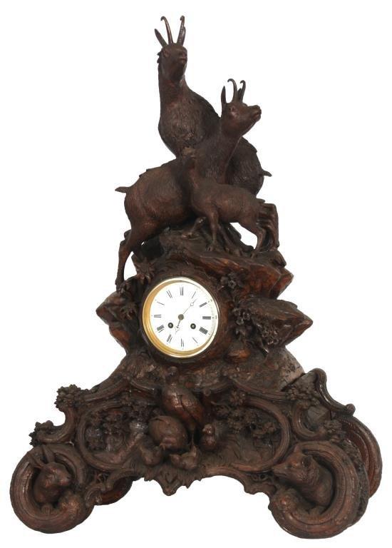 Carved Black Forest Mantle Clock