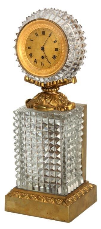 Fusee Bronze & Cut Glass Clock