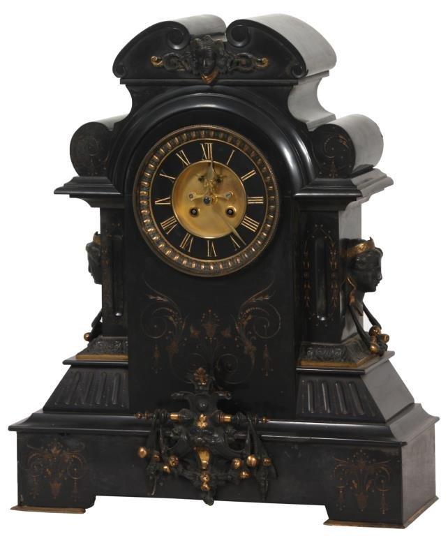 Large Black Marble Mantle Clock