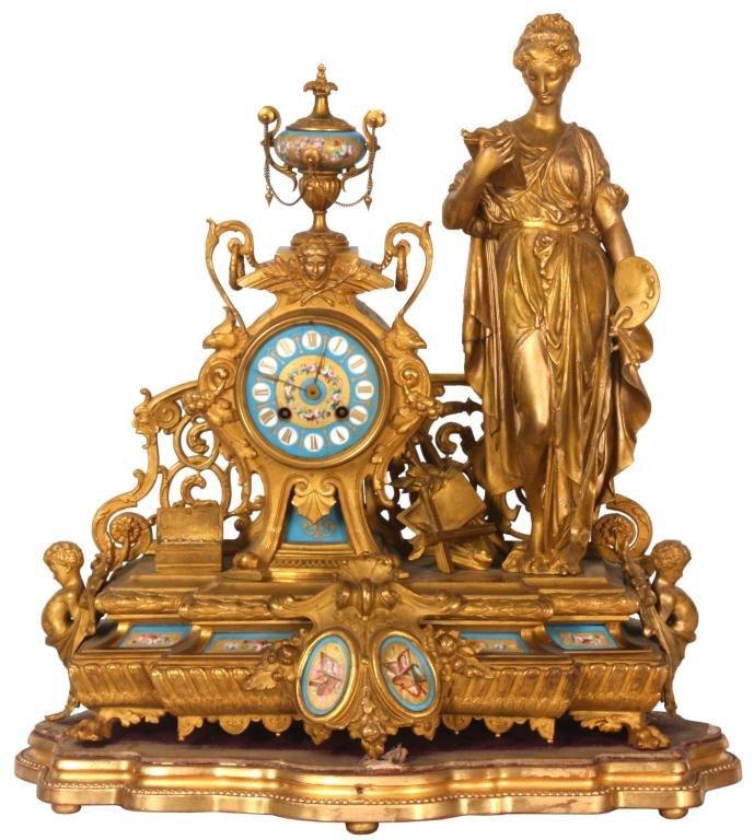 Ph. Mourey Figural Mantle Clock