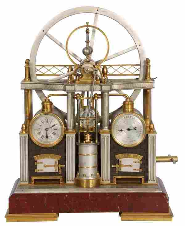 French Industrial Steam Engine Clock