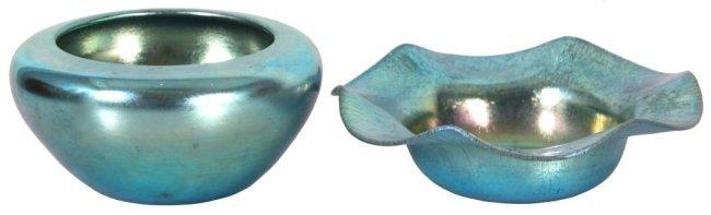 2 Steuben Aurene Blue Bowls