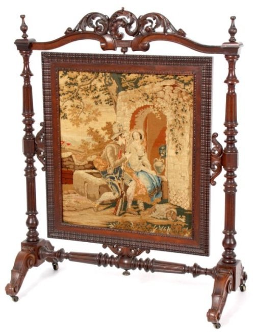 Carved Rosewood Firescreen With Tapestry