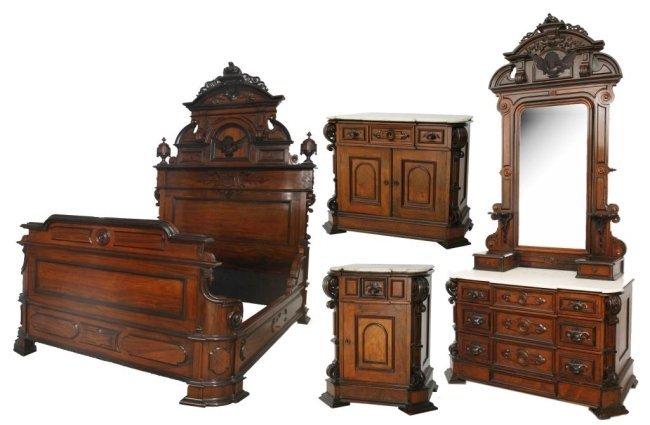 4 Pc. Rosewood Marble Top Bedroom Set