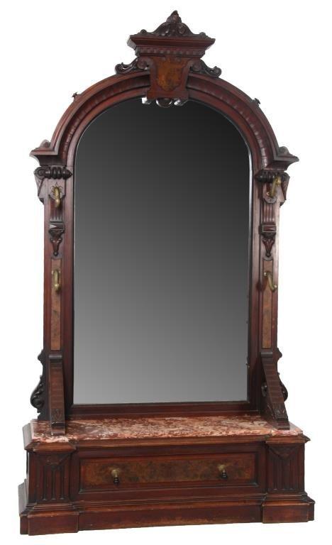 Large Walnut Marble Top Hall Mirror