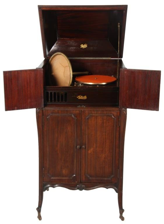 Mahogany Pathe Actuelle Floor Model Phonograph