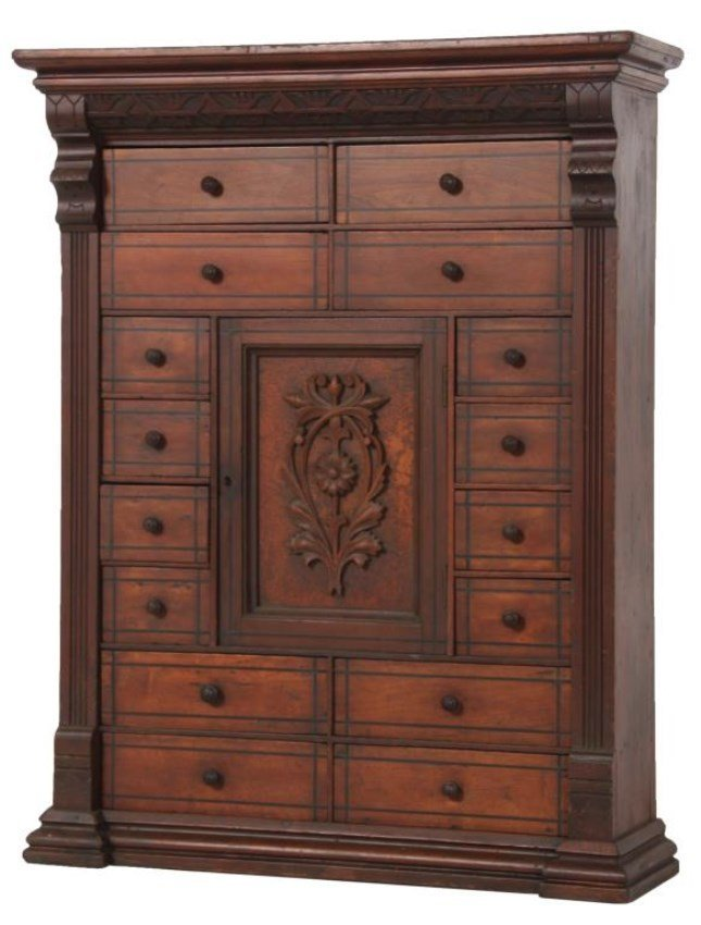 Carved Walnut 16 Dr. Apothecary Cabinet