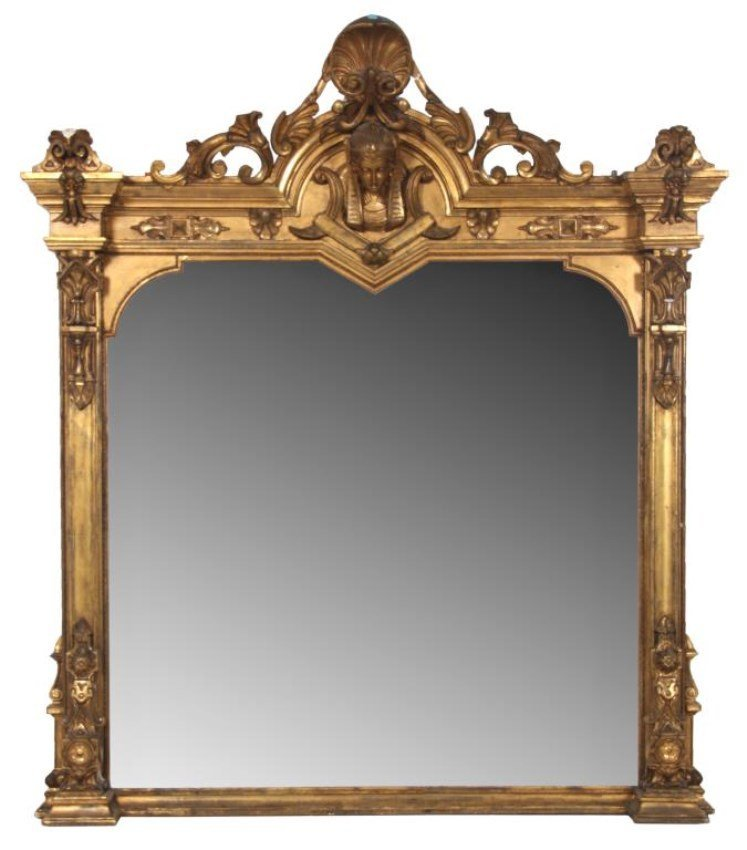 Lg. Gilded Over Mantle Mirror