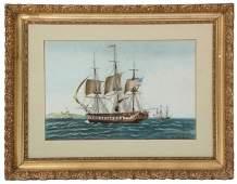Baugean W/C Seascape Ship Painting
