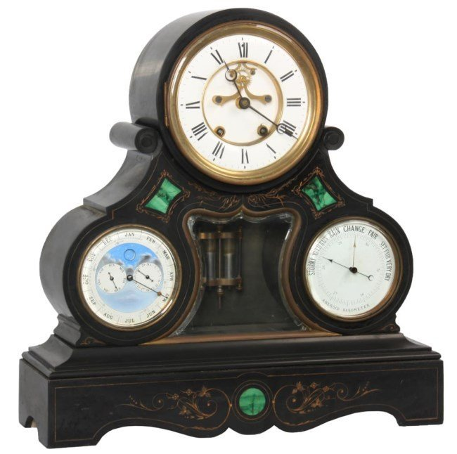 Large Marble Triple Dial Mantle Clock