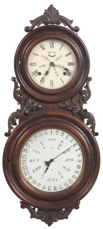 BB Lewis No. 6 Double Dial Calendar Clock